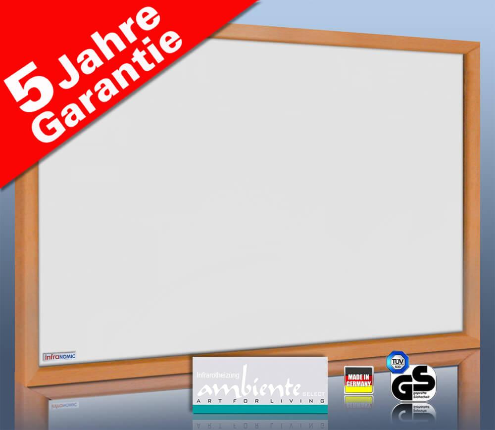 Infrarotheizung 210 Watt 60 x 40 cm weiß Rahmen massiv Buche