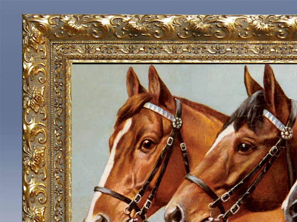Infrarot Bildheizung 600 Watt mit Zierrahmen goldfarben - Drei Pferde