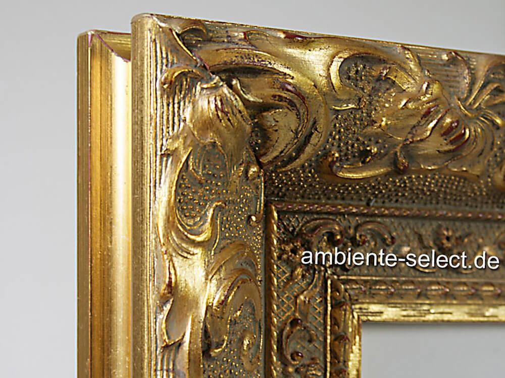 Infrarot Bildheizung 700 Watt mit Zierrahmen goldfarben - Drei Pferde