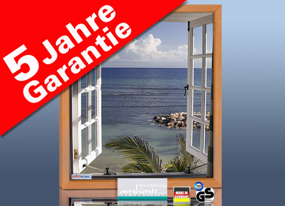Bildheizung 400 watt 70 x 60 cm rahmen massiv buche for Fenster 70x60