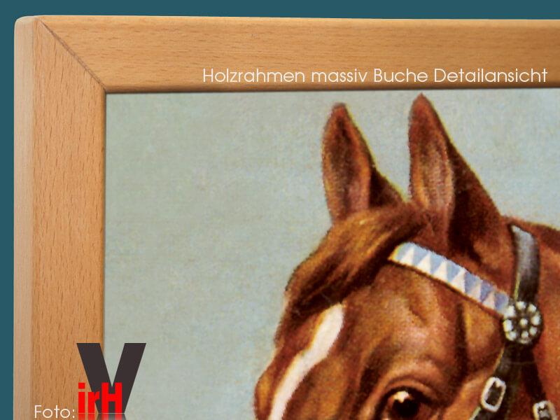 Bildheizung 500 Watt 90 x 60 cm Rahmen massiv Buche - Drei Pferde