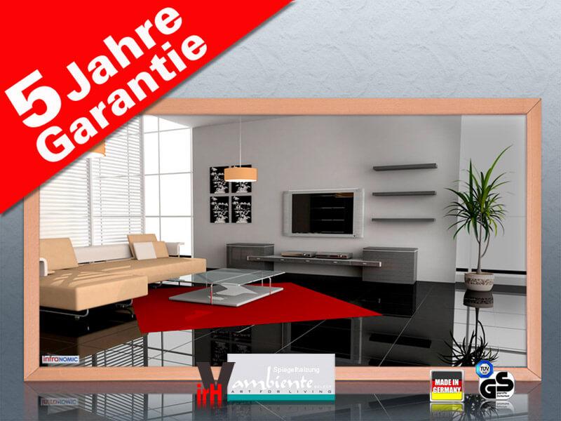 infrarot spiegelheizung 700 watt 120 x 60 cm mit holzrahmen buche. Black Bedroom Furniture Sets. Home Design Ideas