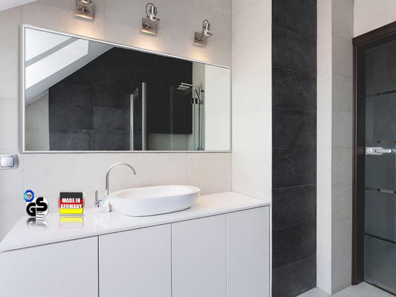 infrarot spiegelheizung 1400 watt 200 x 80 cm mit alurahmen 10 mm. Black Bedroom Furniture Sets. Home Design Ideas