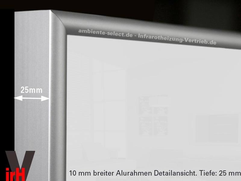 infrarotheizung 600 watt 110 x 60 cm wei mit alurahmen 10 mm. Black Bedroom Furniture Sets. Home Design Ideas
