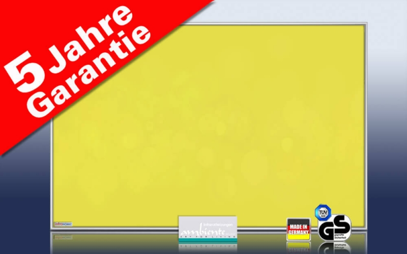 infrarotheizung 500 bis 900 watt farbig ral verkehrsgelb. Black Bedroom Furniture Sets. Home Design Ideas