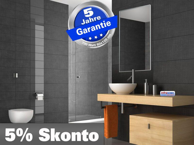 infrarot spiegelheizung 700 watt 120 x 60 cm mit alurahmen 10 mm. Black Bedroom Furniture Sets. Home Design Ideas
